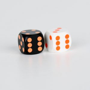 Black with orange dots &white with orange dots