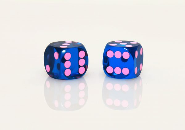 Dark blue with pink dots