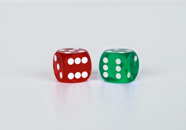 Precision dice calibrated White Red and green