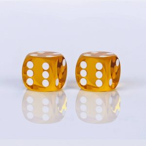 Precision dice calibrated Saffron transparent