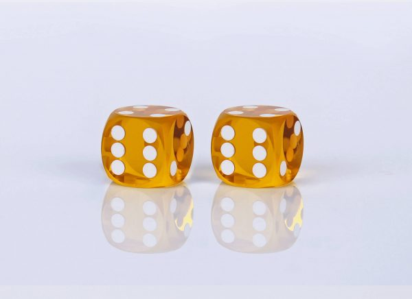 Precision dice calibrated Saffron transparent