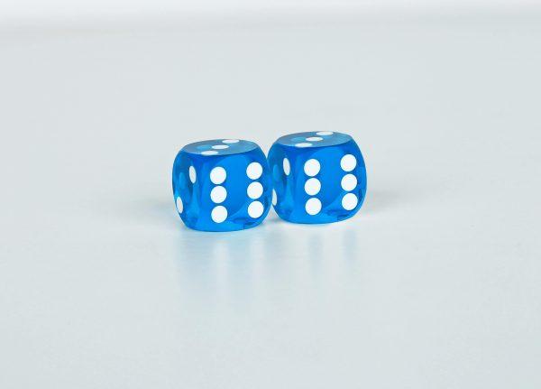 Precision dice calibrated light blue