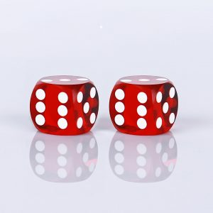 Precision dice calibrated dark red – transparent