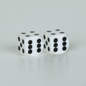 Precision dice calibrated White with black dots - opaque