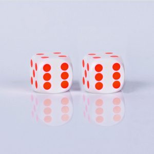 Precision dice calibrated Black with white - Orange dots