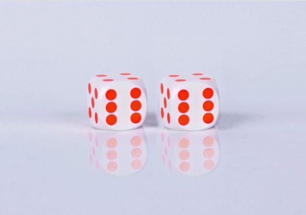 Precision dice calibrated Black with white - Orange dots