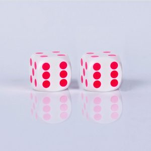 Precision dice calibrated Black with white - pink dots