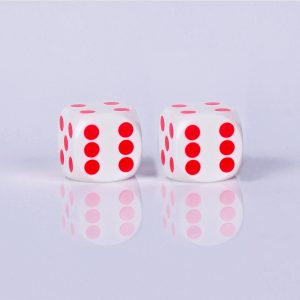 Precision dice calibrated White White - red dots