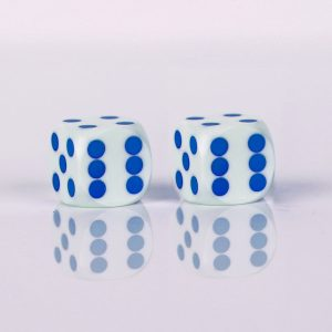 Precision dice calibrated White with blue dots